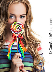 Girl with colorful lollipop - Portrait of girl with colorful...