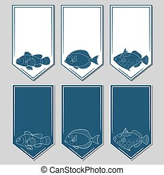 Vector set of stickers with fish. Isolated objects