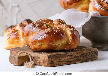Round Challah bread - Heap of sweet round sabbath challah...