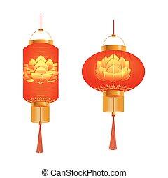 A set of orange Chinese Lanterns. Lotus pattern. Round and cylindrical shape. Isolated on white background. illustration