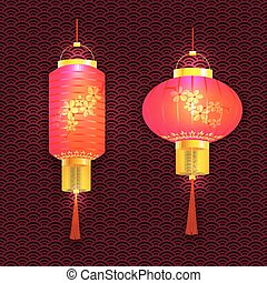 A set of purple Chinese lanterns. With cherry pattern. Sakura. Round and cylindrical shape. The tracery background. illustration