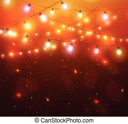 Colourful Glowing Christmas Orange Lights. - Colourful...