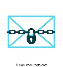 Confidential letter icon of padlock with chain