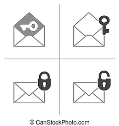 Mail icon collection with padlock and key - Security mail...