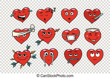 Red heart Valentine set of characters. Faces emoticons with...