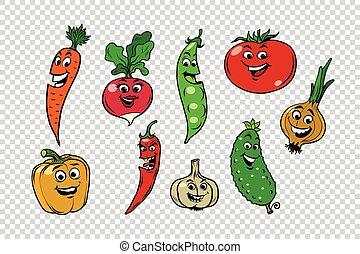 Set of fresh cute vegetable characters. Salad ingredients on...