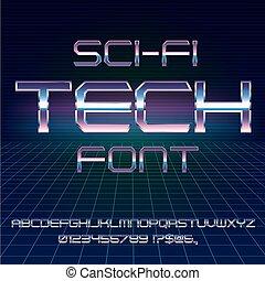 Sci-Fi retro font - Sci-Fi 80's style techno retro alphabet...