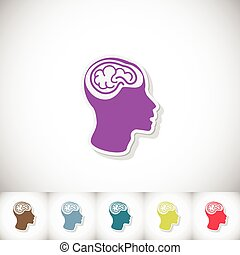 Human brain in head. Flat sticker with shadow on white background