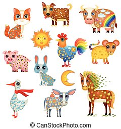 Painted Domestic Animals - Vector Illustration of Cute...