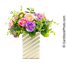 Bunch of flowers arrangement for household decoration in a vase isolated on white