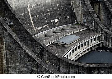Barrage du Chastang - detail 1 - The dam Barrage du Chastang...