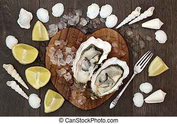 Oyster Shellfish - Oyster shellfish on crushed ice on a...