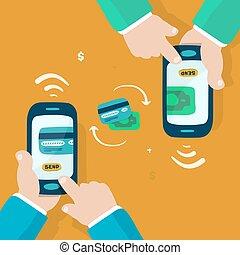 mobile money transfer, doodle illustration