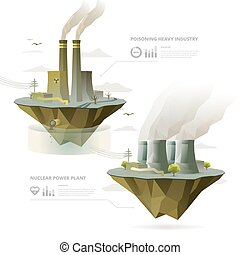 Heavy Industry Factory and Nuclear Power Plant with...