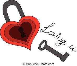 illustration of heart shaped lock with a key