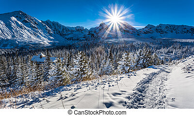 Cold sunset in Tatra Mountains in Poland