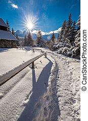 Winter trail to mountain hut in Tatra Mountains, Poland