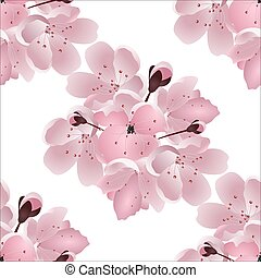 Japanese cherry. Seamless. Bouquet of pink sakura blossom with bud. Isolated on white background. illustration