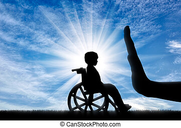 Social Issues disabled child concept - disabled child in a...