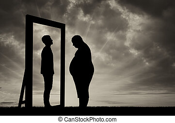 Fat sad man and his reflection in mirror of a normal man -...