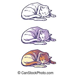 Sketch cat sleeping curled up - Vector illustration, sketch...