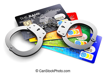 Bank credit cards and handcuffs isolated on white