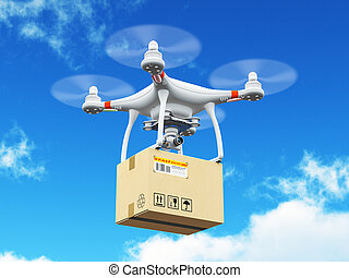 Delivery drone with cardboard box in the blue sky - Creative...