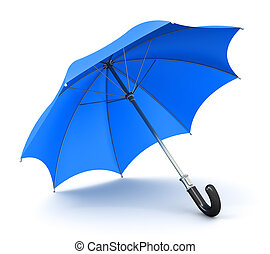 Blue umbrella or parasol - Creative abstract 3D render...