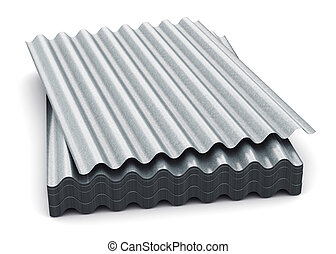 Group of wave shaped zinc-plated metal sheets - Creative...