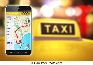 Smartphone with taxi service internet application - Creative...