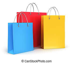 Group of color paper shopping bags