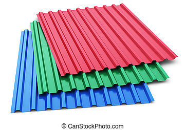Group of color steel profile sheets