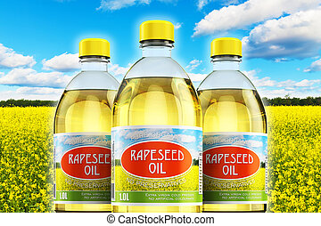 Group of plastic bottles with rapeseed oil - Creative...