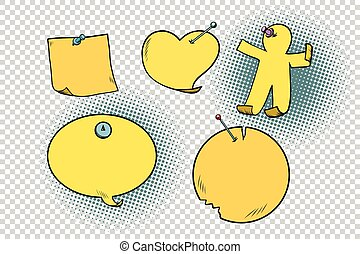 set of yellow stickers in different shapes