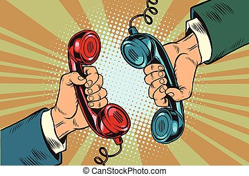 Retro a dialogue on the phone two handsets, pop art vector...