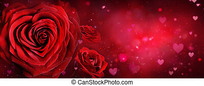 Valentine Card - Roses And Hearts In Romantic Background