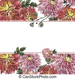 Wildflower aster flower frame in a watercolor style...