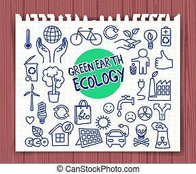 Green Earth Ecology doodle set - Doodle Customer Service...