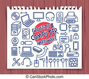 Doodle Computer Hardware icons - Doodle Customer Service...