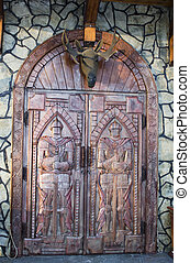 Antique medieval wooden door: concept for entry, gateway