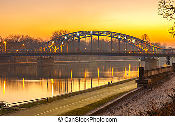 Pilsudzki bridge at sunset in Krakow, Poland