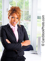 Business Woman - Pretty Young Woman Stood In Front Of Her...