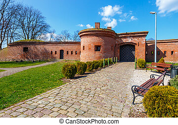 View of the fortifications in harbor in Kolobrzeg, West...