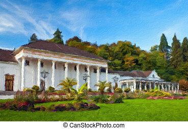 Casino Baden-Baden. Europe, Germany.  Oil painting effect.