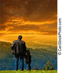 Father and son looked into the distance from the cliff. Oil...