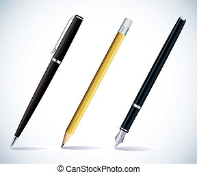 Pencil and pens - Illustration of a pencil, a ball pen and a...