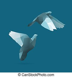 pigeon, bird flight, polygonal illustration