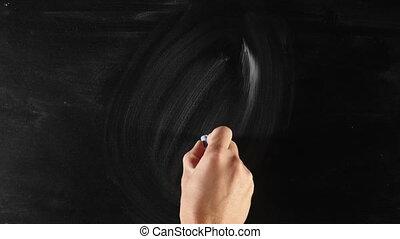Lightbulb on blackboard - Drawing light bulb on board,...