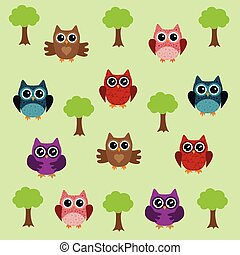 owl background with tree - vector owl background with tree