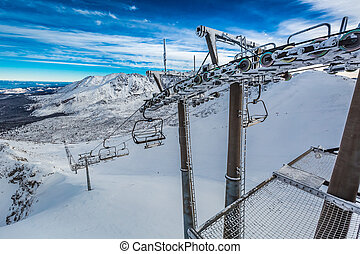 Frozen cableway in the mountains, Tatras in Poland